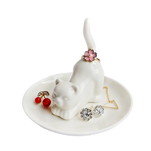Cat Jewelry Ring Dish Holder, Elegant Ceramic Engagement Wedding Ring Trinket Tray ()