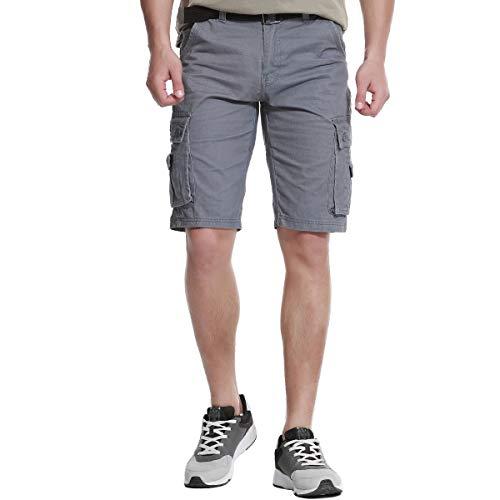 Work Cargo Shorts Men Loose Fit Outdoor Lightweight Casual Multi-Pocket Hiking Cotton Camo Messenger Ripstop Wear Canvas Summer Pants (Light Gray,34) - Mens Messenger