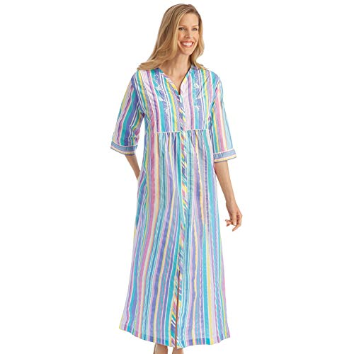 Women's Pastel Striped Lounger with Zip Front and 3/4
