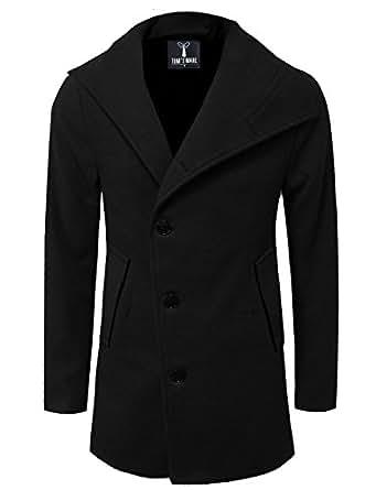 TAM WARE Mens Slim Fit Unbalanced Single Breasted Button Wool Pea Coat TWNFD077JA-BLACK-US S
