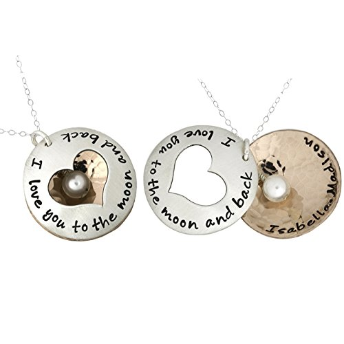 Personalized I Love You to the Moon and Back Charm Necklace. Customize a Sterling Silver Disc and an Rose Gold Plated Disc. Add a Freshwater Pearl or Birthstone. Choice of Sterling SIlver Chain