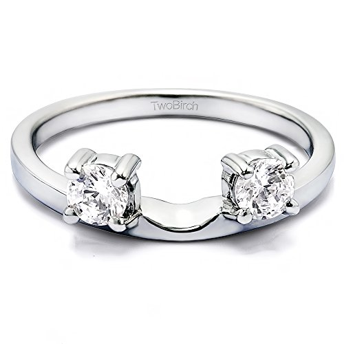 Diamond Three Stone Round Prong Set Ring Wrap in 10K Gold GH I2I3(0.5Ct) Size 3 To 15 in 1/4 Size ()