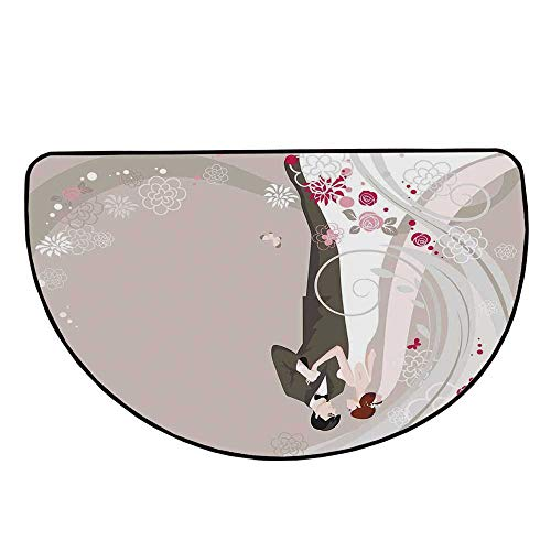 Wedding Decorations Comfortable Semicircle Mat,Abstract Wedding Ceremony Floral