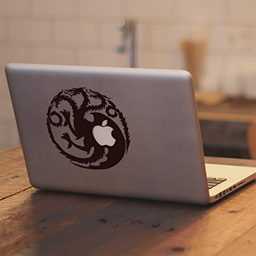 Game of Thrones Ice and Fire House Targaryen Fire and Blood Dragon - Vinyl Decal Sticker Skin for Apple Macbook Air & Pro 11 12 13 15 17 Inch, Car, Laptop, Notebook, Chromebook, Tablet, Ultrabook, Window, Glass, Wall, Outside, Tables, Chair, Desktop