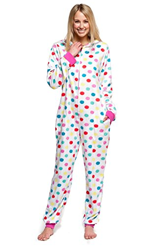 Women's Body Candy Wonderful Winter Hooded One Piece Plush Onesie (Multicolor Polka Dots, X-Large)