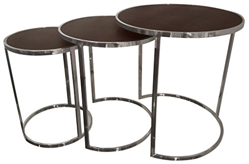 Empire Art Direct Metallic Shagreen Leather Set of 3 Nesting Console Tables, 24 in. X 16 in. X 24 in, Bronze/Black