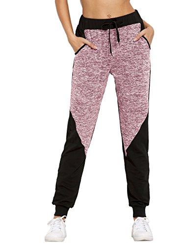 SweatyRocks Women Pants Colorblock Casual Tie Waist Yoga Jogger Pants Red Black M