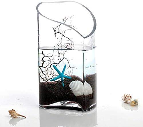 水槽ハート型の肥厚水槽ガラス透明水槽円柱状生態学的な小さな金魚の戦いの水槽オフィスデスクトップの造園