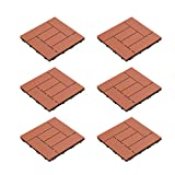 terra cotta tile Pure Garden 50-LG1190 Patio and Deck Tiles - Interlocking Criss-Cross Pattern Outdoor Flooring Weather and Slip Resistant Square (Terra Cotta Color 6 Pcs),