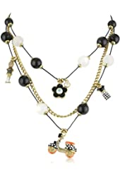 "Betsey Johnson ""60's Mod "" Scooter Multi-Charm Illusion Necklace"