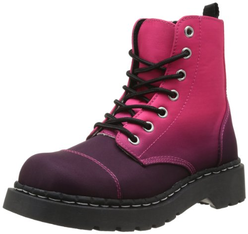 TUK Anarchic 7 Eye Ladies Boots Pink / Burgundy Ombre