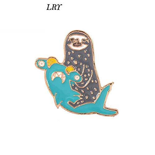 - Sloth and Hammerhead Shark Pins Sea Cuties Baby Cute Kawaii Badges Brooches Brooch Pin Badge Emblem Corsage Lapel Animal Jewelry