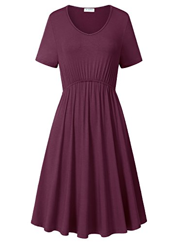 Dresses Plus Size, Women Summer Party Dress With Short Sleeves Vintage Style (Wine Red, XXL) (Empire Style Dress)
