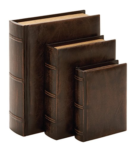 Deco 79 Library Wood Leather Book, 13 by 10 by 8-Inch, Set of 3