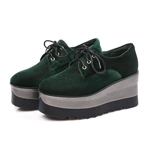 Spring Otoño Helado Zapatos De Estudiante Cabeza Cuadrada Boca Profunda Suela Gruesa Pendiente Zapatos De Mujer Verde