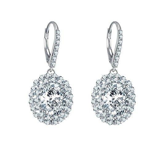 AmDxD Jewelry 925 Sterling Silver Custom Make Earring Women Drop Earrings Oval Round CZ (Vhs Pin)
