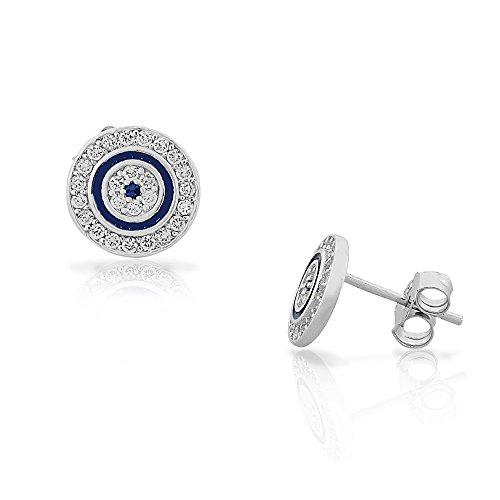 (925 Sterling Silver White Blue CZ Evil Eye Hamsa Womens Girls Round Stud Earrings)