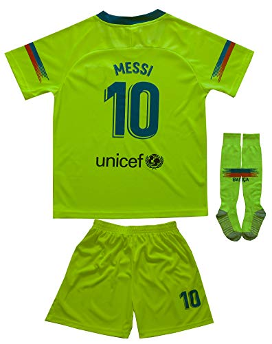 Da Games Youth Sportswear Barcelona Messi 10 Kids Away Soccer Jersey/Shorts Football Socks Set (12-13 YRS OLD, Away) ()
