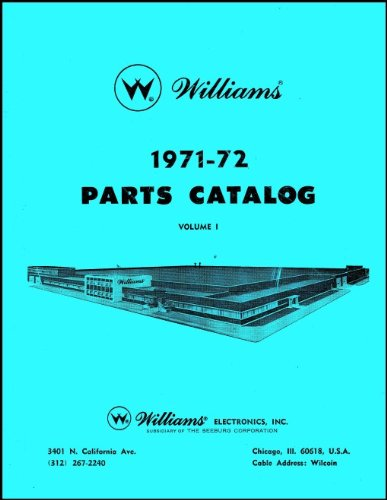 (1971-72 Williams Pinball Machine Coin-Op Game Parts Manual Catalog)