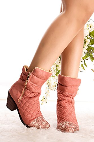 Lolli Couture Forever Link Suede Material Side Zipper Buckle Strap Fur Trim Accent Chunky High Heel Booties pink-jones-3 26DZA