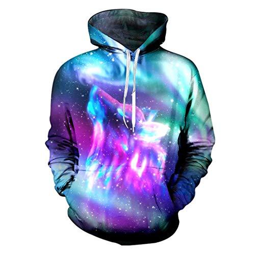 Men Casual Galaxy Space Wolf Hoodies Cool 3D Print Sweatshirt Men Hip Hop Streetwear Hooded Outdoor Sport Outwear Coat Tops XXL