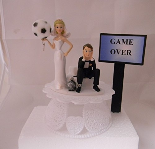 Wedding Party Reception Game Over Sign Soccer Ball & Chain Cake Topper by Custom Designed by Suzanne