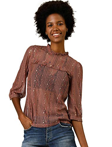 Allegra K Women's 3/4 Sleeves Ruffle Mock Neck Sheer Lace Top S Brown