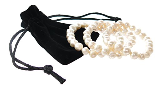 Frogsac 3 PCs Freshwater Pearl Bracelets for Women - Genuine Cultured Pearls Stretch Bracelet Set - Great for Bridesmaids, Mother's Day Gift, Anniversary - Costume Jewelry for Women