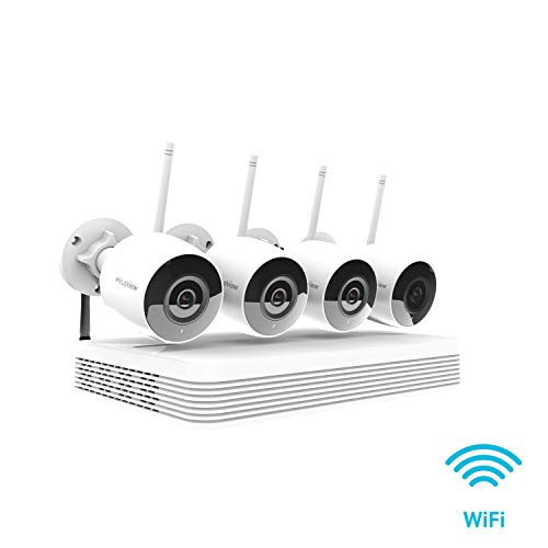 LaView 1080P HD Wireless Security Camera System Wi-Fi, 4X 2MP Wireless Wi-Fi Indoor Outdoor IP Cameras, IR LED Night Vision, 500ft Wi-Fi Range, Mobile Alerts, Audio Recording, CCTV Surveillance -  LV-KNW958WB4-T1