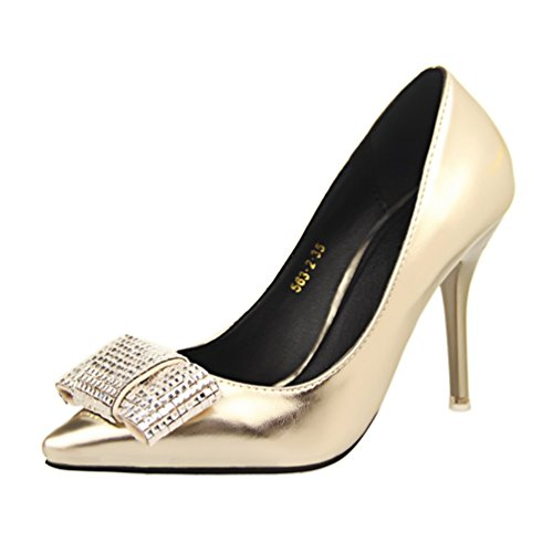 HooH Damen Bling Diamanten Pointed Toe Abendschuhe Pumps Gold