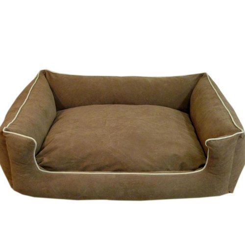 Carolina Pet Microfiber Kuddle Lounge Low Profile Bed for Pets, Small, Spa Blue/Chocolate