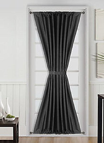 french door panel curtains black - 7