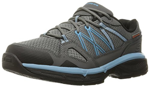 Skechers for Work Women's Conroe Abbenes Work Shoe, Gray/Blue, 8 M US by Skechers