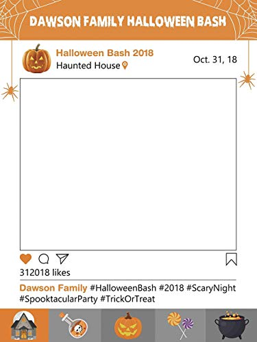Halloween Party Bash Social Media Frame Halloween Photo Booth Prop Size 36x24 48x36 Scary Night Spooky Happy Halloween Spooktacular Party Selfie Party Halloween Decor Handmade Photo Booth Prop]()
