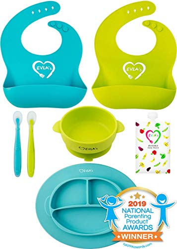 Baby Feeding Set | Silicone Bib Plates Bowls Spoons | Divided Plate Suction Bowl & Soft Spoon Aids Self Feeding | Adjustable Bib Easily Wipe Clean | Spend Less Time Cleaning Up After Toddler/Babies (Feeding Baby Food For The First Time)