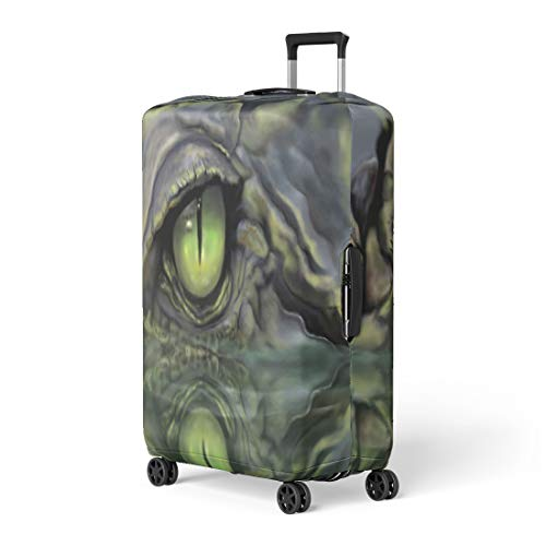 - Pinbeam Luggage Cover Green Alligator Drawing of Crocodile Eye Brown Animal Travel Suitcase Cover Protector Baggage Case Fits 26-28 inches