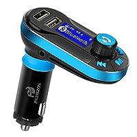 Transmisor FM Bluetooth para Coche Manos Libres Cargador USB Adaptador de Radio Reproductor MP3 (Silver) (Azul)