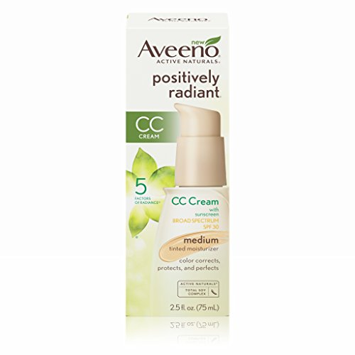 Aveeno Positively Radiant CC Cream Broad Spectrum Spf 30 Medium, Skin Color Correction, 2.5 Oz - Skin Tint
