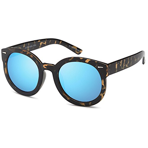 CATWALK Womens Oversized Cat Eye Sunglasses - Mirror Blue Lens on Tortoise Frame