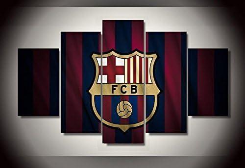 Dionysios Print Framed Canvas Barcelona FCB 5 Pieces Wall Art Decor Ready to Hang on The Wall