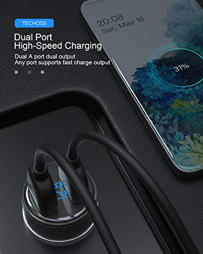 USB C Car Charger, Techoss Mini 25W 5A Metal Dual USB Car Charger, PowerDrive 2 Alloy Flush Fit Car Adapter with Blue LED, Compatible with iPhone XR/Xs/Max/X/8/7/Plus, iPad Pro/Air 2, Galaxy, LG, HTC
