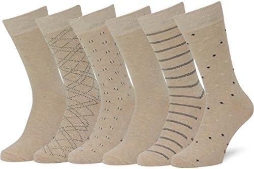 Easton Marlowe Men 6pk Classic Cotton Solid  Patterned Dress Socks