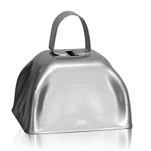 Metal Cowbells with Handles 3 inch Novelty Noise Maker - 12 Pack (Silver)