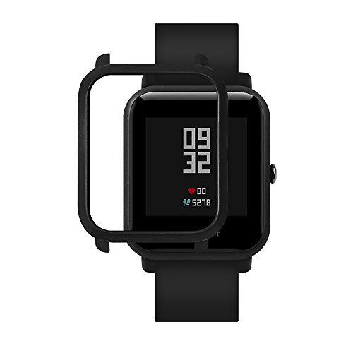 Xiaomi Huami Amazfit Watch Frame Case Protective Hard PC Bumper Case For Huami Amazfit Bip Bit Youth Edition Watch Case Bumper Cover For Huami Pace Lite Watch Shell Watch Case Cover (Black)