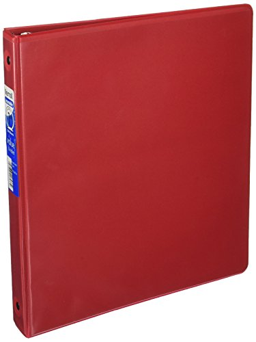 Samsill Economy 3 Ring View Binder, 1 Inch Round Ring Holds 225 Sheets, Customizable Clear View Cover, Red (18533)