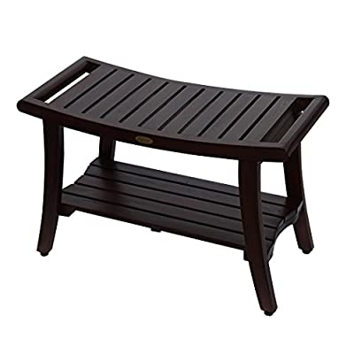 "DecoTeak Harmony 30"" Teak Shower Bench With Shelf And LiftAide Arms"