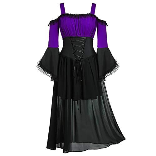Halloween Havoc Complete Collection (HebeTop Women Medieval Dress Renaissance Lace Up Vintage Gothic Dress Off Shoulder Cosplay Dresses)