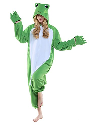 CANASOUR Polar Fleece Christmas Adult Anime Unisex Cosplay Onesie (Small, Green Frog)]()