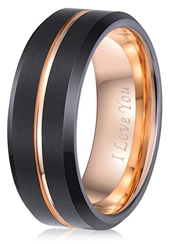 (LaurieCinya Black Tungsten Carbide Wedding Band Men Women 8mm Rose Gold Line Ring-Brushed Finish-Comfort Fit-Engraved I Love)
