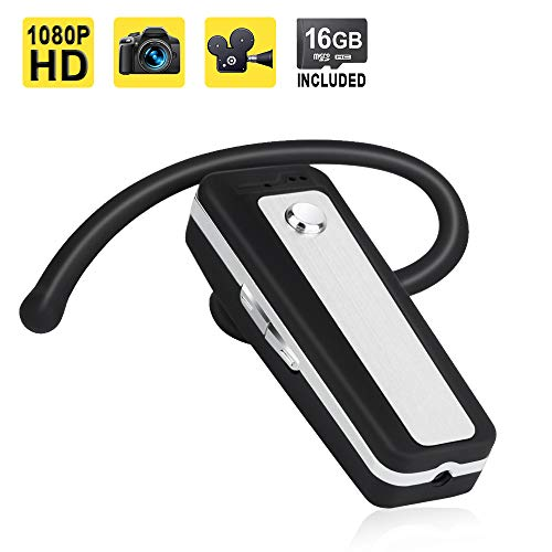 1080P HD Mini Pocket Body Camera Spy Video Recorder Bluetooth Earphone Type Support Photo Taking, 16GB Memory Card Built-in